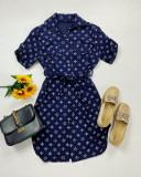 Cumpara ieftin Rochie ieftina casual stil camasa bleumarin cu stelute noi si cordon in talie