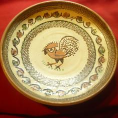 Farfurie Ceramica de Horezu - cu Cocos , frumos smaltuita , d=25,7cm ,cu prinder