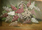 Cumpara ieftin Tablou vechi, mare, Cos cu liliac inflorit, ulei pe placaj, Flori, Realism