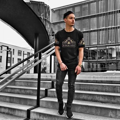 Tricou pentru barbati, cu model, simplu, slim fit, casual - BB18113 foto