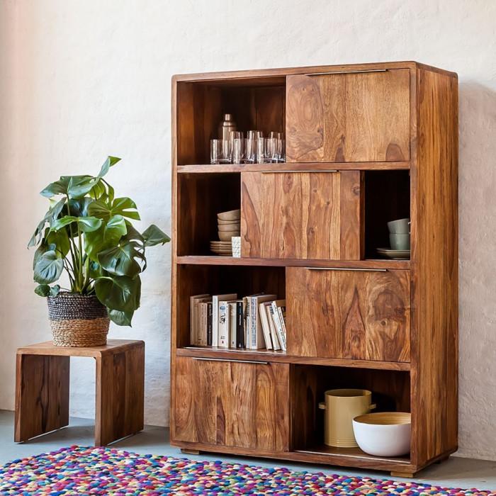 Biblioteca Trangle - lemn masiv sheesham