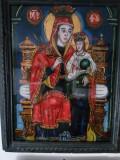 FECIOARA MARIA CU IISUS PE TRON - ICOANA PE STICLA PICTATA DE PAVEL ZAMFIR