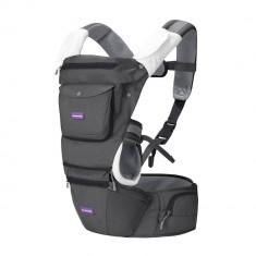 Marsupiu ergonomic pentru bebelusi si copii multiple pozitii Clevamama Gri
