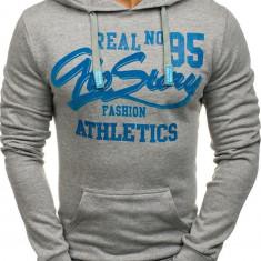 Bluză cu glugă și imprimeu pentru bărbat gri Bolf 6215