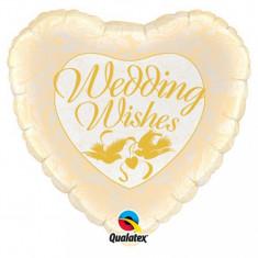 Balon nunta inima din folie 43cm Wedding Wishes