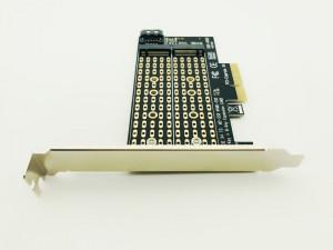 Adaptor dual SSD M.2 NGFF NVMe M Key + M.2 SATA B Key la PCI Express X4 pt PC