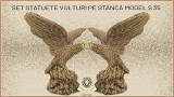 Set statuete vulturi pe stanca din beton model S35.