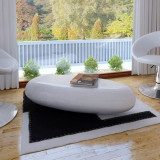 Măsuță de cafea din fibră de sticlă, alb lucios