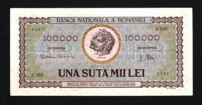ROMANIA 100.000 ( 100000 ) LEI -  Ianuarie 1947 . Foarte frumoasa ! foto