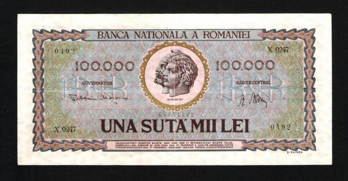 ROMANIA 100.000 ( 100000 ) LEI -  Ianuarie 1947 . Foarte frumoasa !