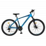Bicicleta MTB-HT Carpat C2658C, 21 viteze, Roti 26inch, Cadru Aluminiu 6061, Frane pe Disc (Albastru/Negru)