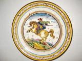 B310-I-Aplica Villeroy & Boch Cavaler pe cal cu sulita semnaturi mester Dresda.