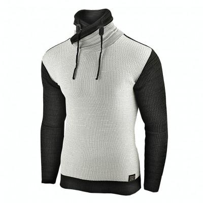 Pulover pentru barbati, gri-deschis, guler inalt, flex fit, casual - Alaska foto