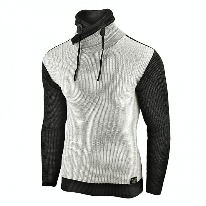 Pulover pentru barbati, gri-deschis, guler inalt, flex fit, casual - Alaska