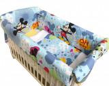 Cumpara ieftin Lenjerie de patut bebelusi 120x60 cm cu aparatori Maxi Deseda Mickey Mouse