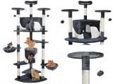 Cumpara ieftin Ansamblu de joaca pentru pisici, cu 2 casute, XXL, 200 cm, cu stalpi din funie de sisal, Gri