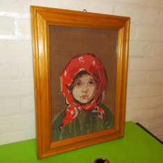 Fetita cu basma de N. Grigorescu  , GOBLEN lucrat manual PUNCT MIC , 39 x 29 cm