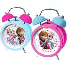 Ceas de masa desteptator mic Anna si Elsa Frozen 9 cm foto