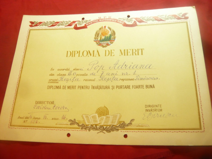 Diploma de Merit ,pe carton ,-Scoala nr.4 Resita 1954 semnata de Coriolan Cocora