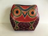 Portofel portmoneu bufnita, piele, pictat manual, cu fermoar, 12x10 cm, Multicolor