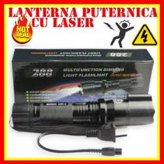 Lanterna Cu Electrosoc Pentru Autoaparare Husa +Laser, Cu lanterna