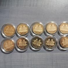"Set 10 monede 50 bani ""Marea Unire de la 1918"" UNC in capsule"
