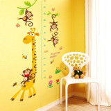 Sticker decorativ Masuratoare cu animalute,galben 145 cm, 54STK