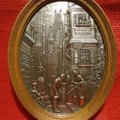 TABLOU ZINC FRIELNG GERMANIA IN RAMA DIN LEMN DECOR KARL SPITZWEG 23 CM