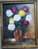 Tablou mare Vas cu flori, ulei pe carton, 65x50, cu rama usor deteriorata, Realism