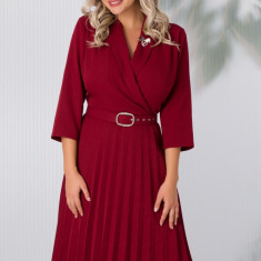 Rochie Damaris bordo cu fusta plisata