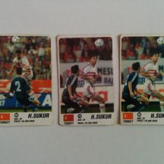 Lot 3 cartonașe fotbal - EURO 2000 - jucători din Turcia (H. Sukur)