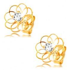 Cercei cu diamant din aur galben de 14K - contur de floare cu diamant
