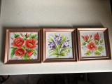 Tablou,pictura,picturi miniaturale ,ulei,rama din lemn,flori,semnate,set de 3