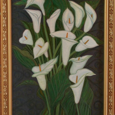 Tablou unicat Cale albe pictat in culori acrilice, 45,5x35,5cm cu rama din lemn, Flori, Acrilic, Realism