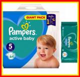 Pampers Scutece Nr 5 Active Baby Giant Pack, 11-18 kg, 64 Buc + Servetele Umede