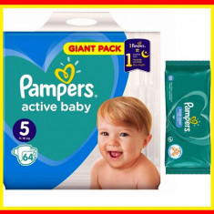 Pampers Scutece Nr 5 Active Baby Giant Pack, 11-18 kg, 64 Buc + Servetele Umede