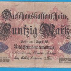 (1) BANCNOTA GERMANIA - 50 MARK 1914 (5 AUGUST 1914), TIMBRU ALBASTRU