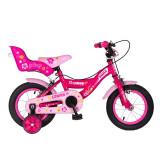 Cumpara ieftin Bicicleta fete cu roti ajutatoare Gonian, 12 inch, 2-5 ani, Roz/Alb, General