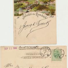 ROMANIA 1900 ilustrata rara litografie vedere generala Sinaia circulata spre SUA, Printata