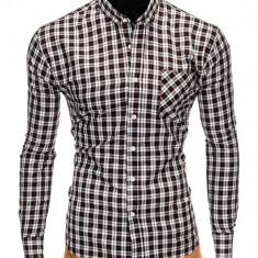 Camasa pentru barbati, neagra, cu model, slim fit, casual, buzunar piept, cu guler - k394