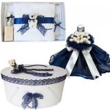 Set Ursuleti trusou botez, cutie trusou si lumanare, decor Bleumarin, Denikos®...