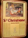 C33-Reclama Calendar veche Distileria Sf. Cristian scena amoroasa de han carton