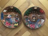 Farfurie,pereche de farfurii ceramice lucrate in basorelief,originale Hawaii