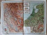 Harta veche Elvetia, Belgia, Olanda, Luxemburg (plansa atlas C Teodorescu, 1924)