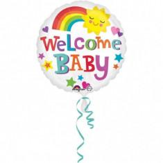 Balon botez folie metalizata 43cm Welcome Baby Bright