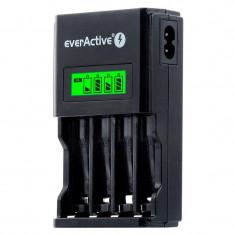 Incarcator EverActive NC-450 Black Edition, pentru acumulatori Ni-Mh AA si AAA, 4 canale