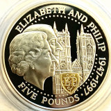 GUERNSEY 5 POUNDS 1997,PROOF,GOLDEN WEDDING ANNIVERSARY,AG.925+AUR 22 CT.CAMEO