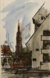"TABLOU, NICOLAE NOBILESCU ""COLT DE ARHITECTURA GERMANA"", Tehnica: Mixta, Dimensiuni: 51 x 32cm."