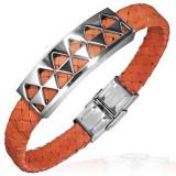 Cumpara ieftin Brățară PVC cu decorație din oțel cu triunghiuri, portocalie