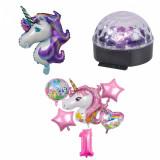 Set baloane pentru petrecere motiv unicorn si glob disco